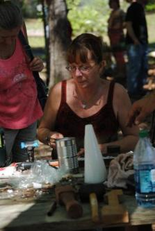 Sue Lincoln making a pewter mold for casting