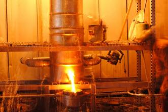 molten iron flowing from the cupola