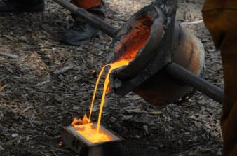 The first iron pour from the new cupola