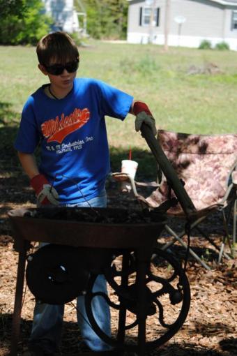 Hunter Averett at the forge
