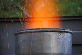 Wood fire to pre-heat the cupola and light the coke